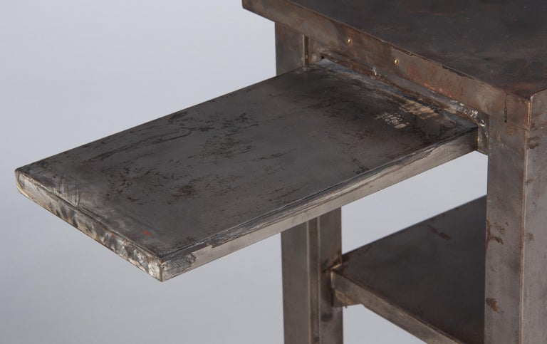 Mid-20th Century French Industrial Steel Working Table, 1950s For Sale
