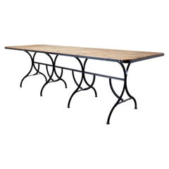 French Industrial Style Cast Iron Harvest Dining Table