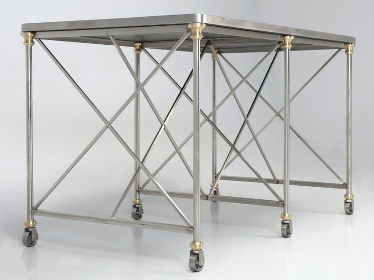 French Industrial Style Kitchen Island Made from Stainless Steel and Brass For Sale 4