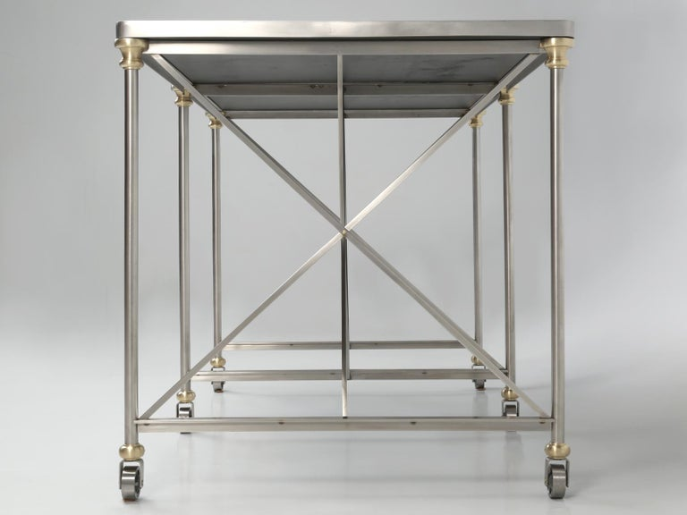 French Industrial Style Kitchen Island Made from Stainless Steel and Brass For Sale 5
