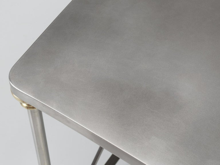 American French Industrial Style Kitchen Island Made from Stainless Steel and Brass For Sale