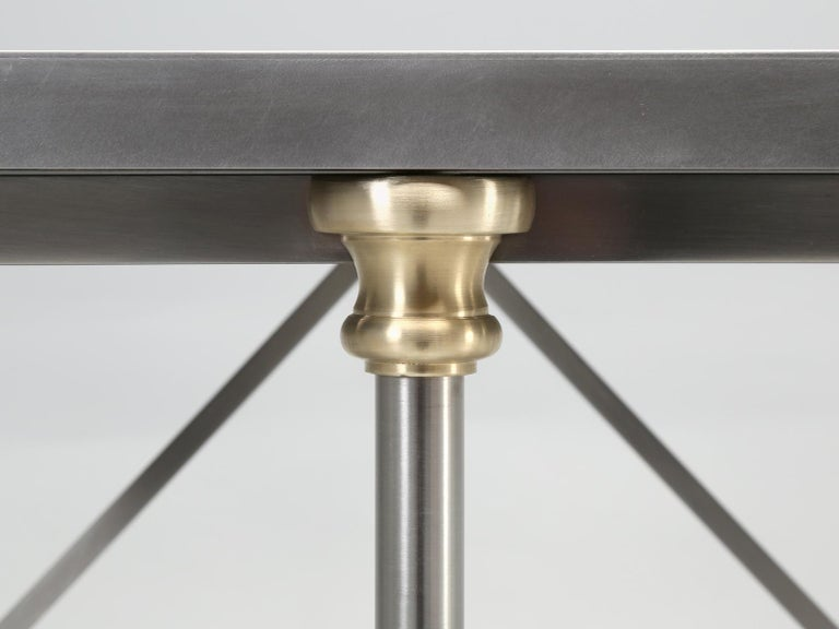 French Industrial Style Kitchen Island Made from Stainless Steel and Brass For Sale 1