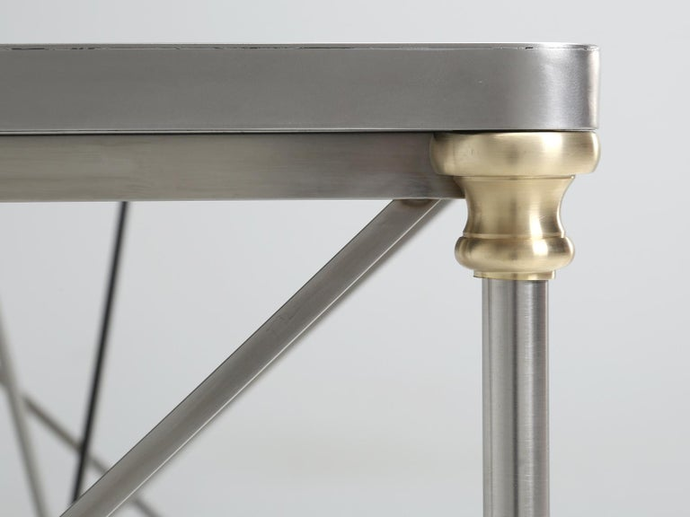French Industrial Style Kitchen Island Made from Stainless Steel and Brass For Sale 3