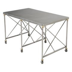 French Industrial Style Kitchen Island Made from Stainless Steel and Brass