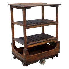 French Industrial Wooden Rolling Cart