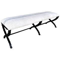 French Industrial X-Stretcher Long Bench with Blue Stripe Linen Upholstery