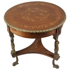 French Inlaid Bronze Mounted Round Table
