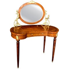 French Inlaid Burled Walnut Gilt Bronze Mounted Dressing Table with Candle Arms