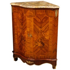 French Inlaid Corner Wooden Cupboard with Marble Top from 20th Century