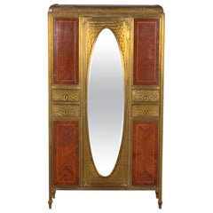 French Inlaid Mahogany and Brass Bound Fitted Cabinet