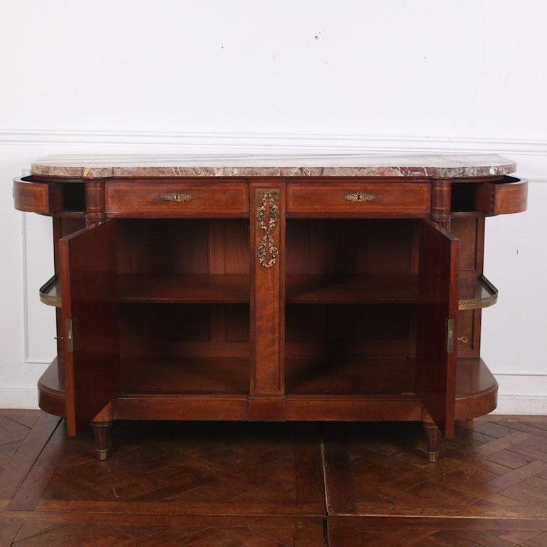 Veneer French Inlaid Mahogany Louis XVI Buffet Sideboard For Sale