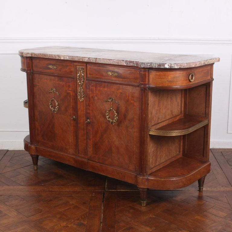 French Inlaid Mahogany Louis XVI Buffet Sideboard In Good Condition For Sale In Vancouver, British Columbia