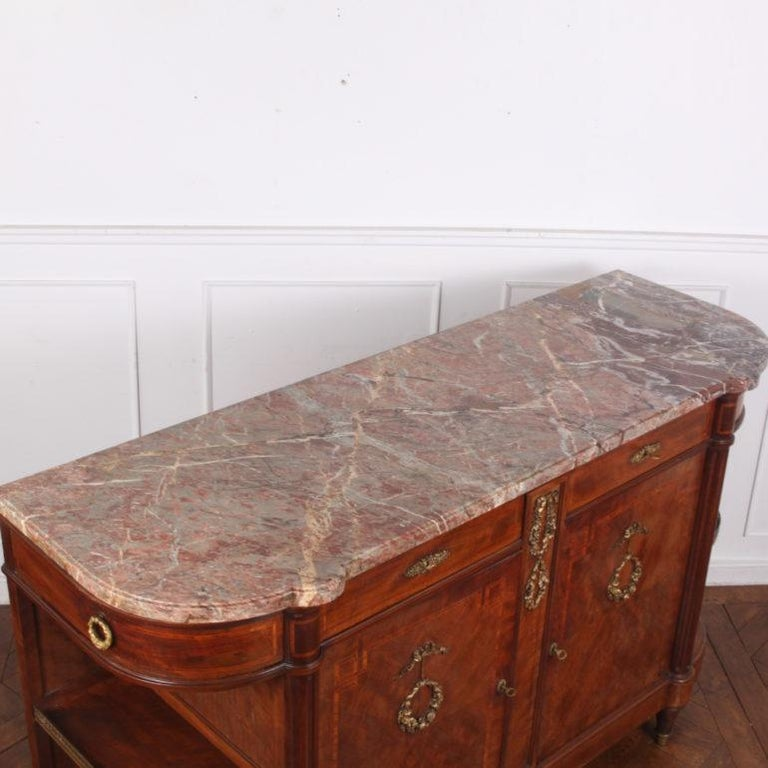 French Inlaid Mahogany Louis XVI Buffet Sideboard For Sale 1