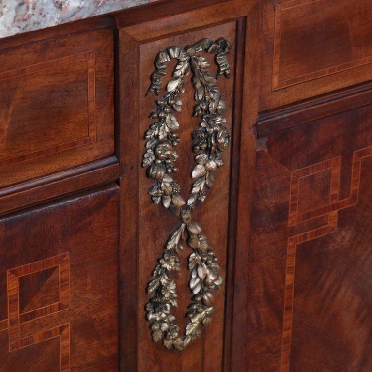 French Inlaid Mahogany Louis XVI Buffet Sideboard For Sale 2