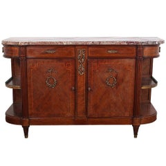 French Inlaid Mahogany Louis XVI Buffet Sideboard