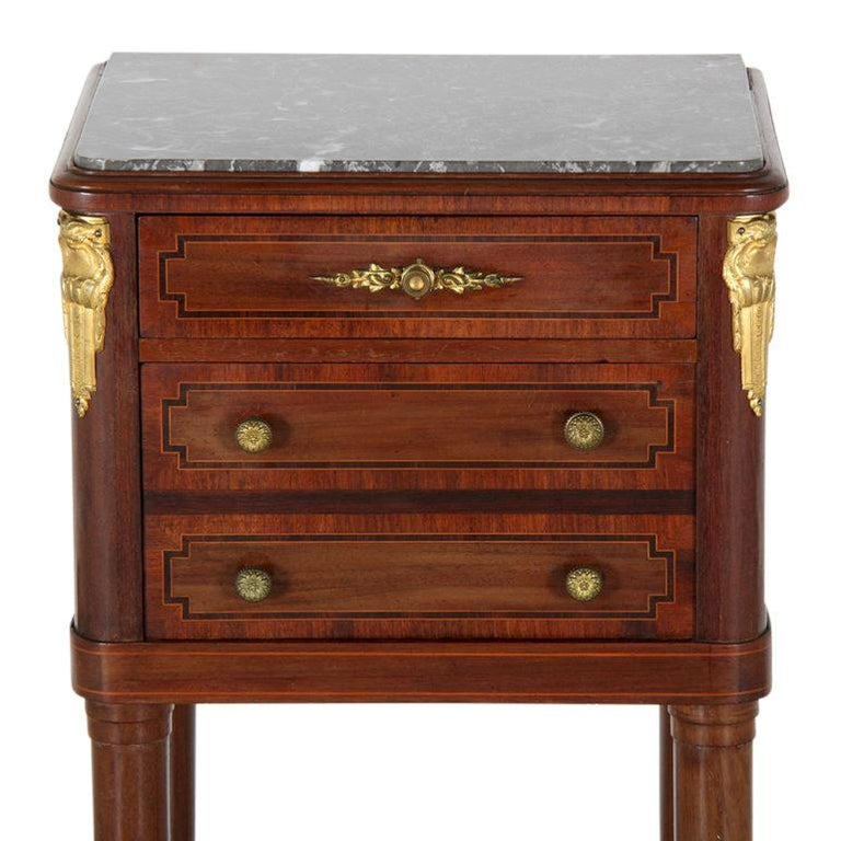 French inlaid mahogany marble-top Louis XVI-style nightstand, circa 1880.