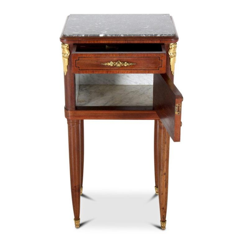19th Century French Inlaid Mahogany Marble-Top Louis XVI-Style Nightstand For Sale