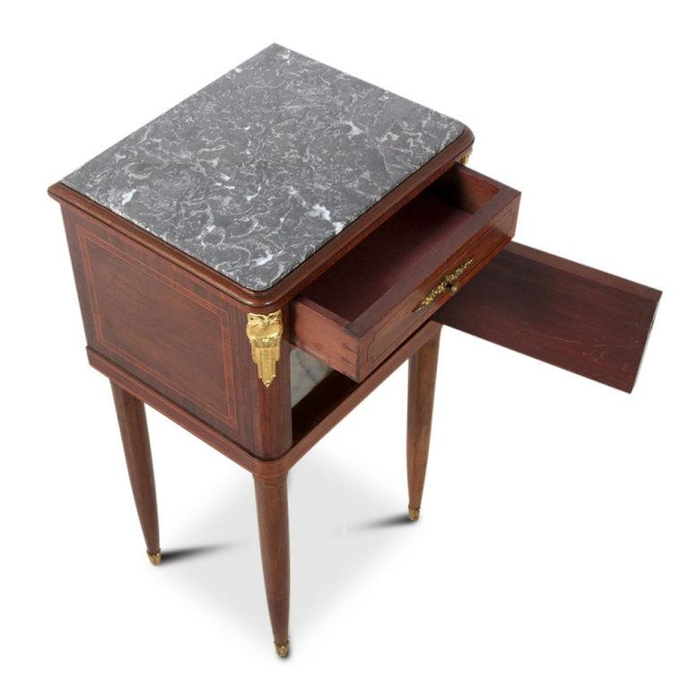 French Inlaid Mahogany Marble-Top Louis XVI-Style Nightstand For Sale 1