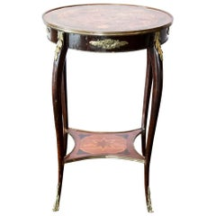French Inlaid Marquetry Shelf Table