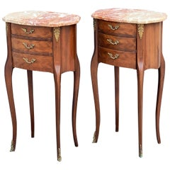 French Inlaid Nightstands or Bedside Tables