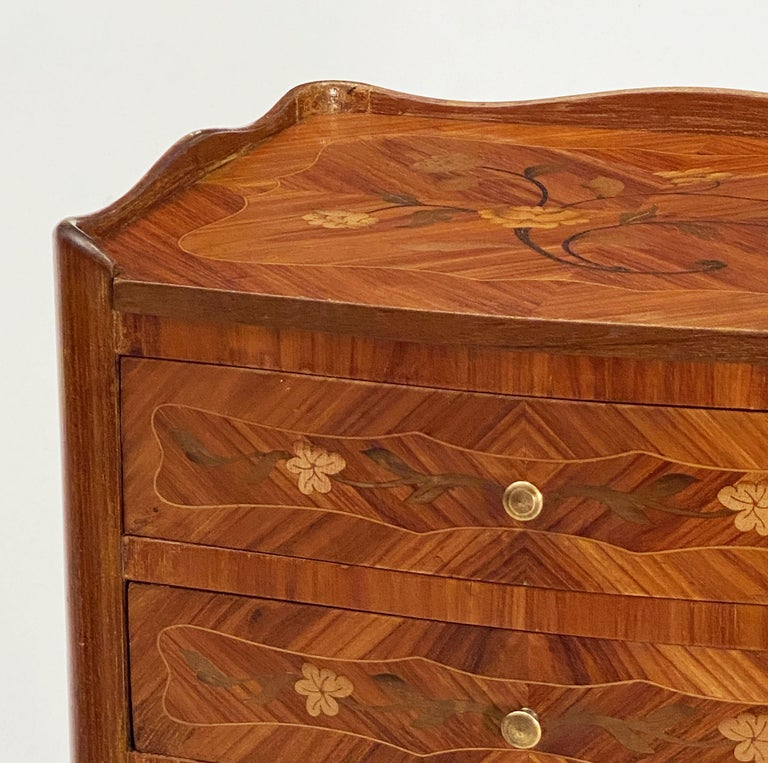 French Inlaid Nightstands or Bedside Tables 'Priced as a Pair' For Sale 4