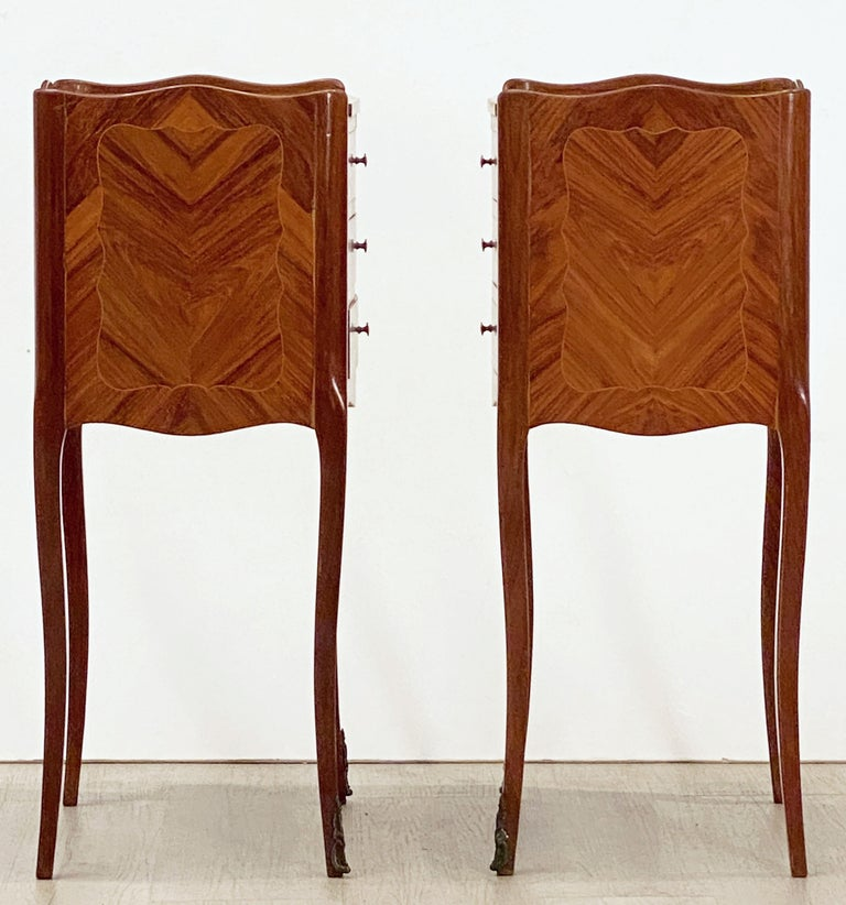 French Inlaid Nightstands or Bedside Tables 'Priced as a Pair' For Sale 7