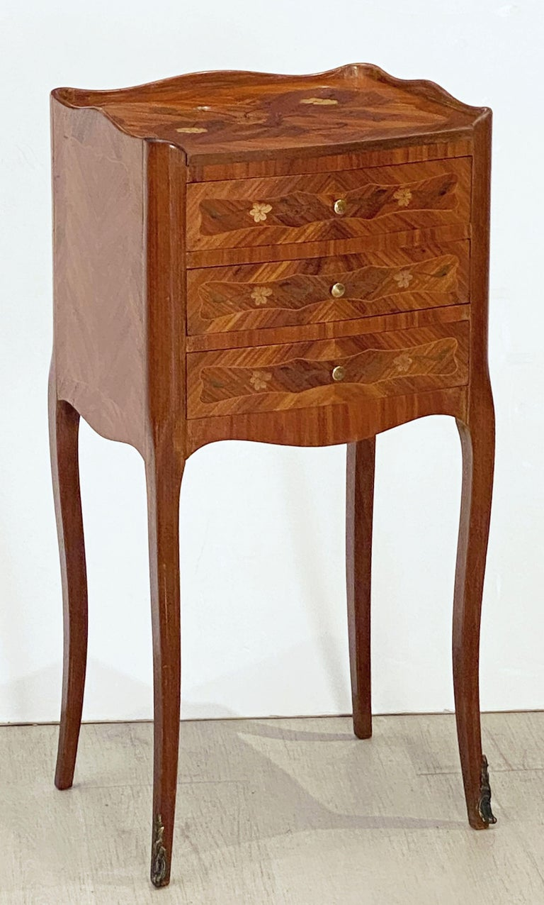 Inlay French Inlaid Nightstands or Bedside Tables 'Priced as a Pair' For Sale