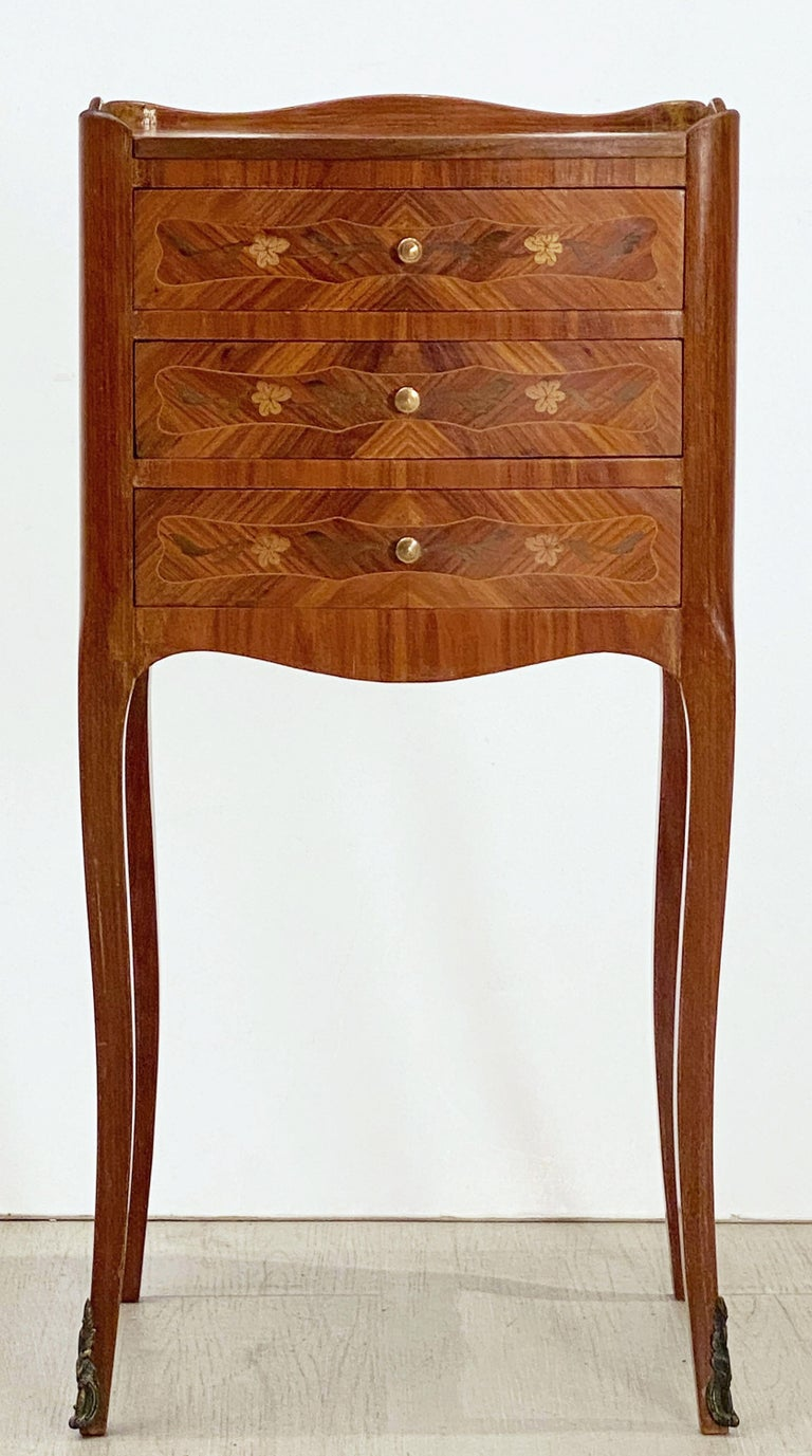French Inlaid Nightstands or Bedside Tables 'Priced as a Pair' In Good Condition For Sale In Austin, TX