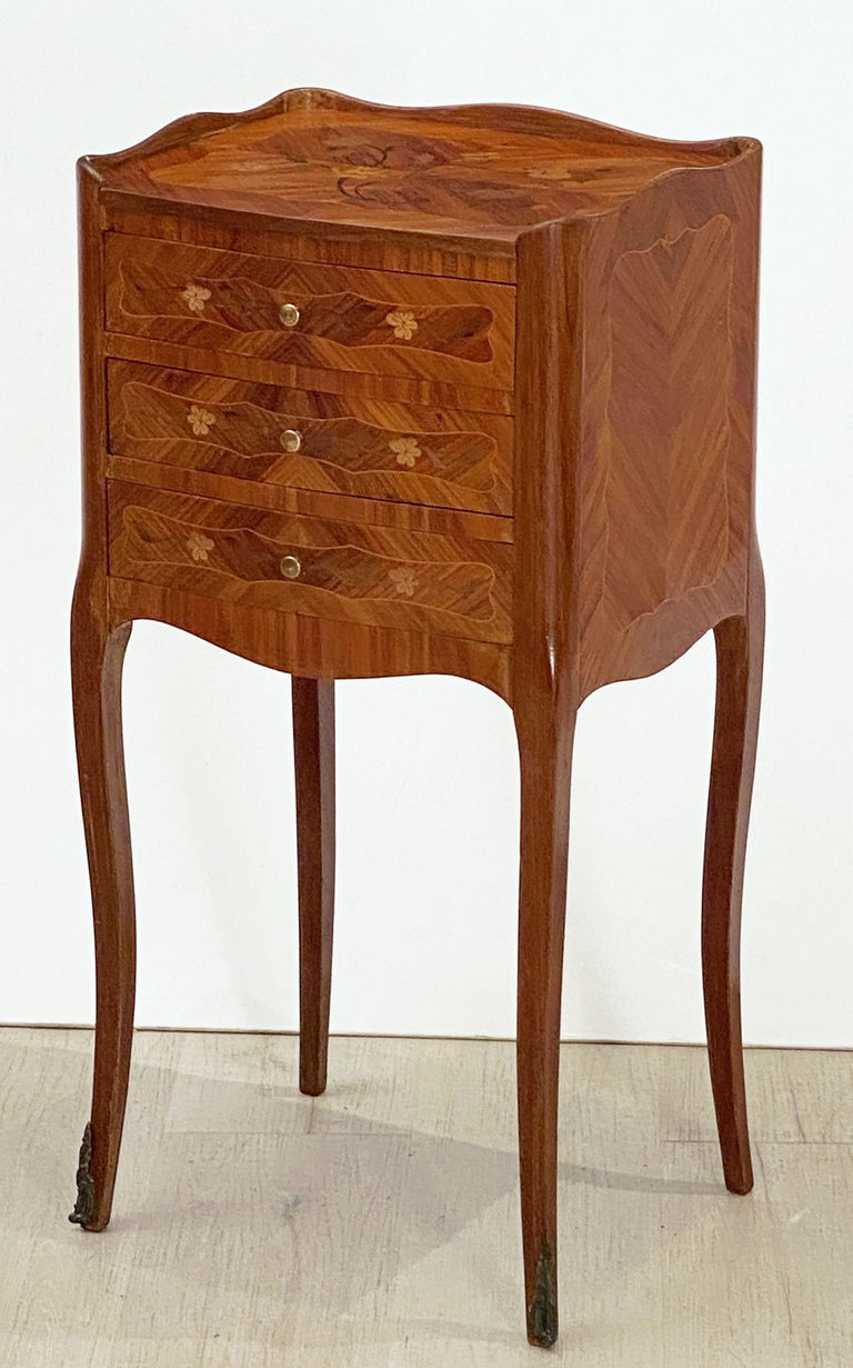 20th Century French Inlaid Nightstands or Bedside Tables 'Priced as a Pair' For Sale