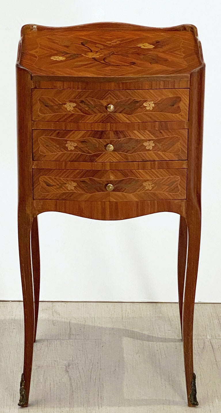 French Inlaid Nightstands or Bedside Tables 'Priced as a Pair' For Sale 1