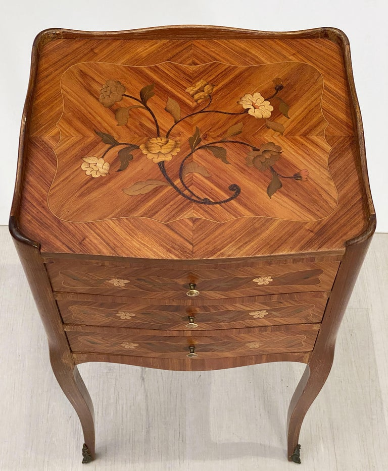 French Inlaid Nightstands or Bedside Tables 'Priced as a Pair' For Sale 2