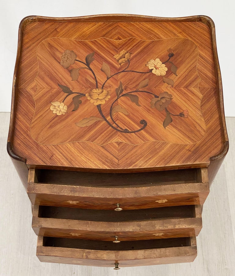 French Inlaid Nightstands or Bedside Tables 'Priced as a Pair' For Sale 3