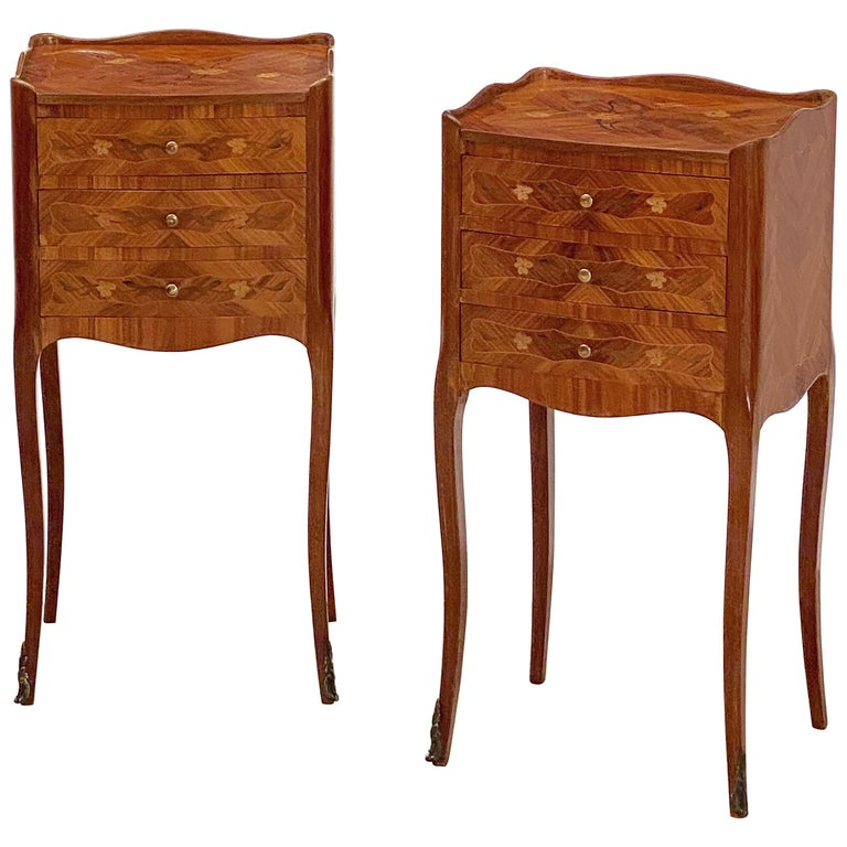 French Inlaid Nightstands or Bedside Tables 'Priced as a Pair' For Sale