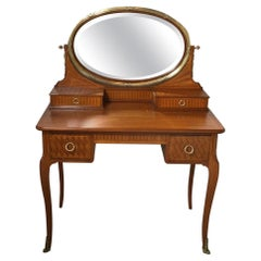 French Inlaid Oval Mirror Vanity with Bronze Mounts