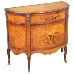 French Inlaid Walnut and Satinwood Demilune Commode with Bronze Ormolu
