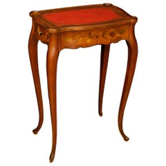 French Inlaid Wooden Coffee Table with Two Drawers, 20th Century