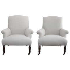 French Inspired Upholstered Linen Bergère Chairs