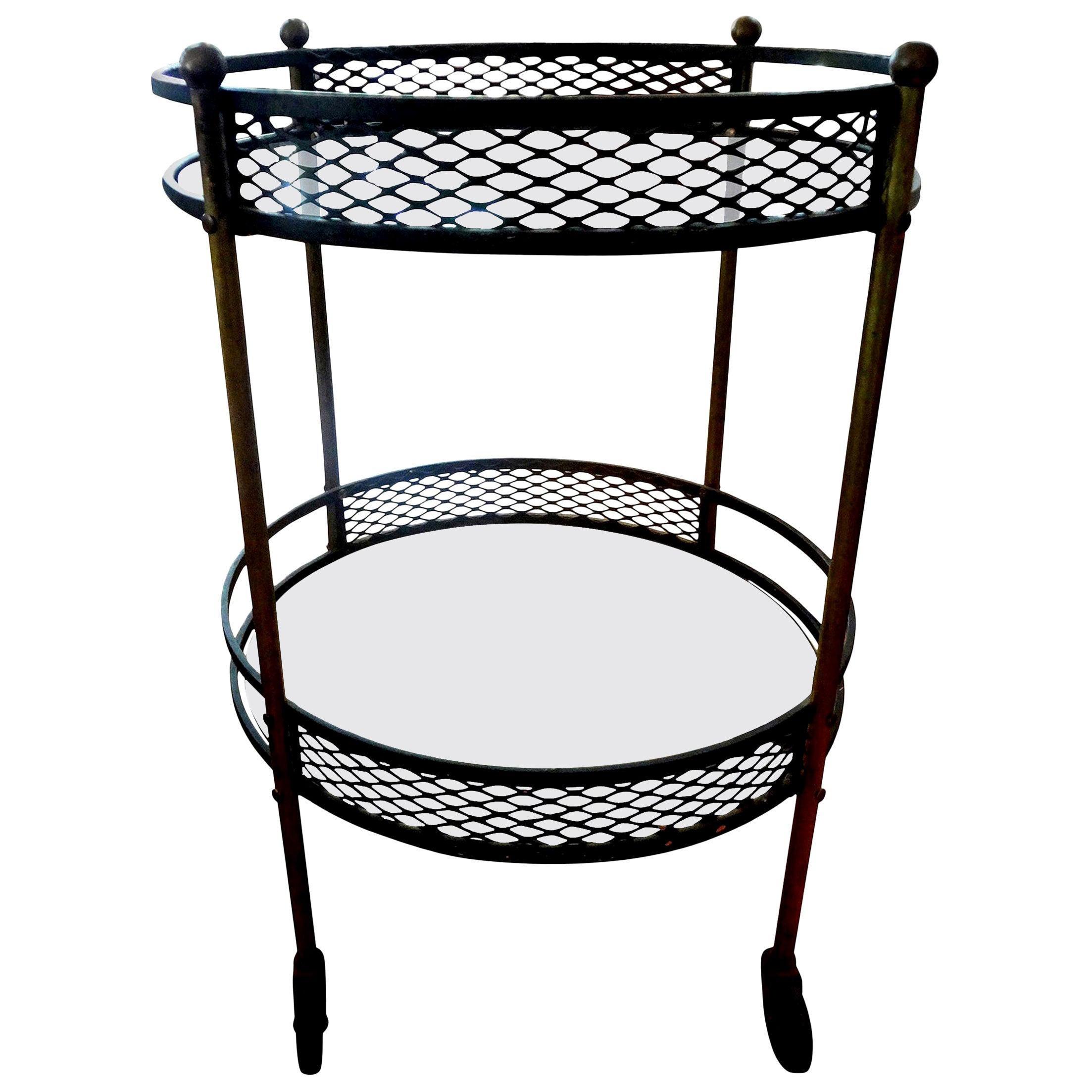 French Iron and Brass Bar Cart Attributed to Mathieu Matégot