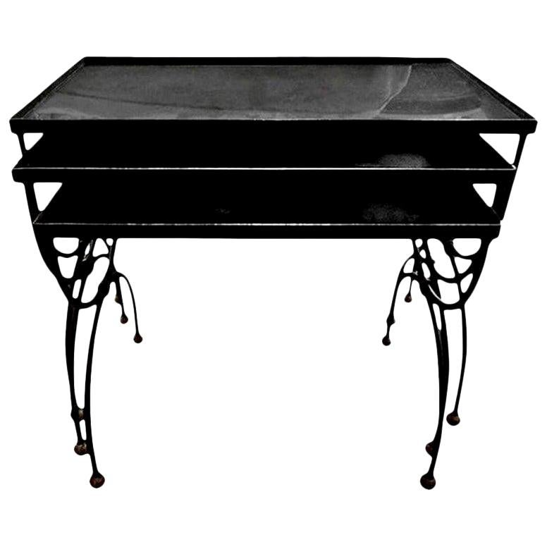French Iron and Brass Nesting Tables with Mirrored Tops