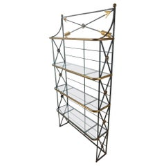 French Iron and Bronze Bakers Rack Shelf with Arrows Motif