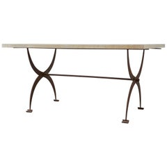 French Iron and Concrete Pastry Dining Table