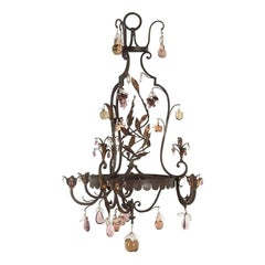 French Iron and Glass Fruit Chandelier