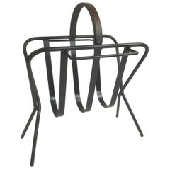 French Iron and Leather Magazine Rack in a Style of Jacques Adnet, 1950s