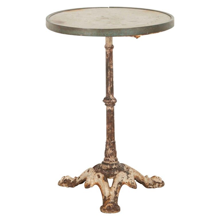 French Iron and Marble Bistro Table For Sale