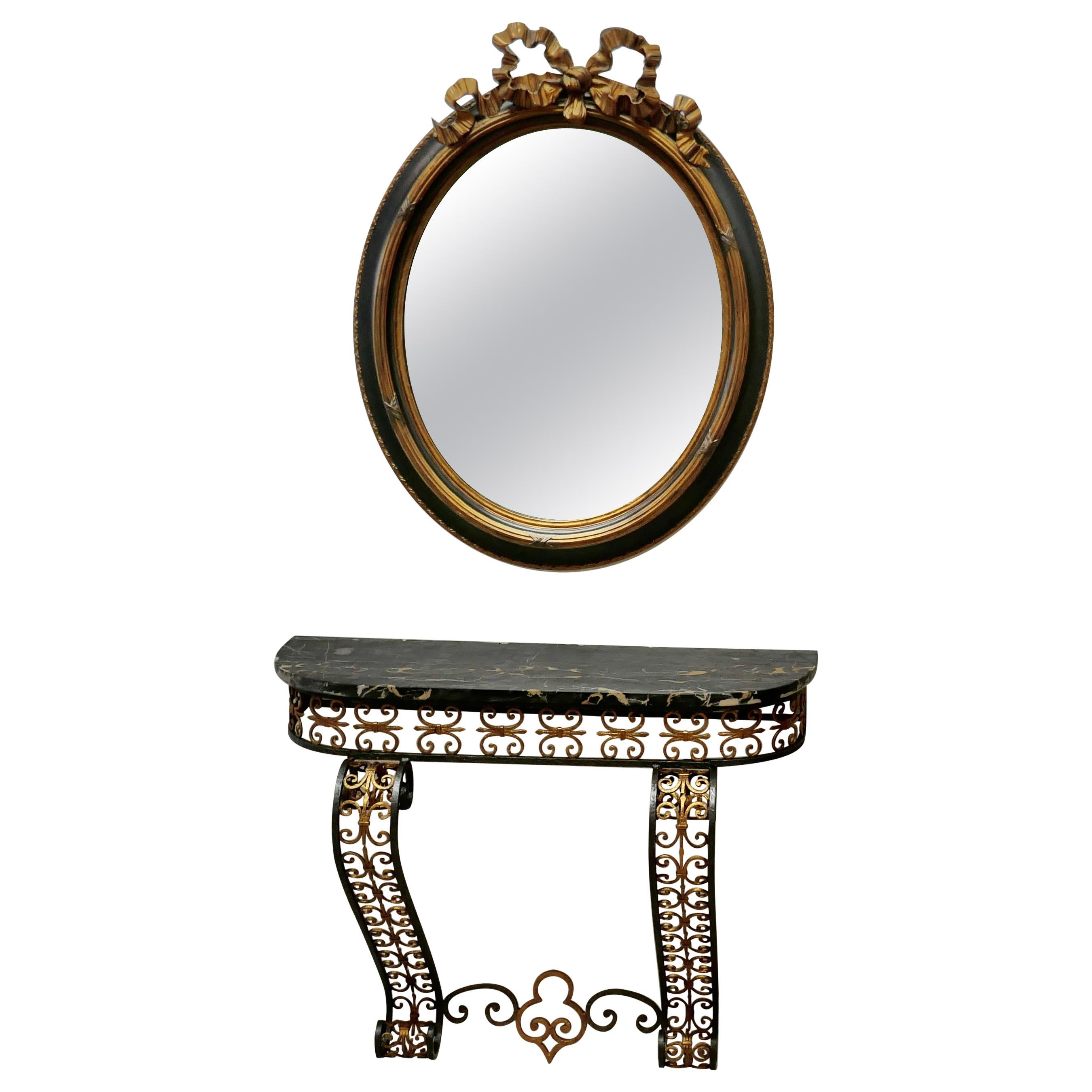 French Iron and Marble Console Table with Matching Mirror
