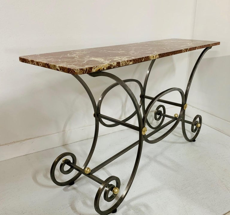 Hollywood Regency French Iron and Marble-Top Console For Sale
