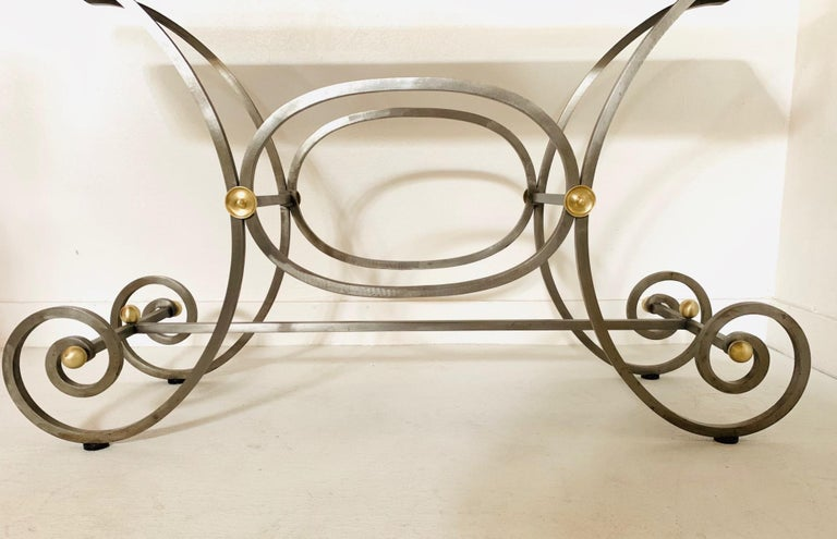 French Iron and Marble-Top Console In Good Condition For Sale In New York, NY