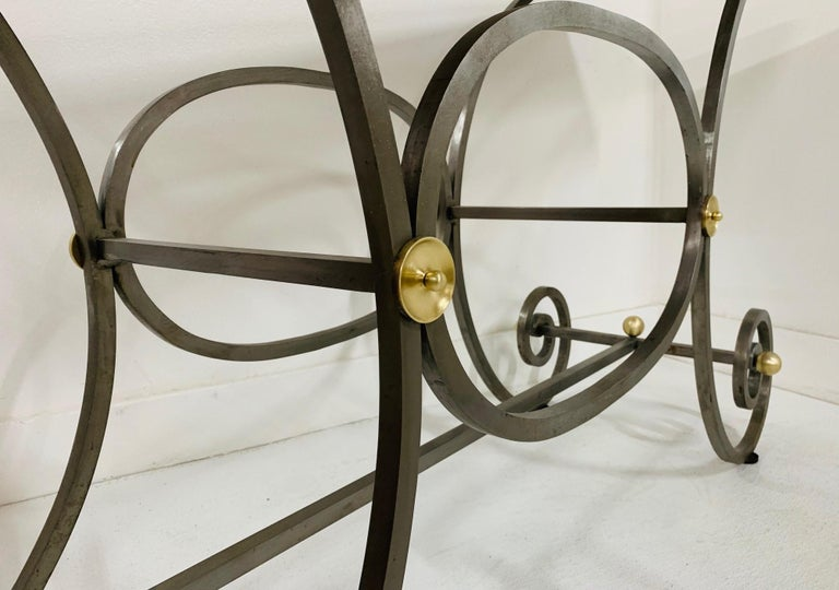 Mid-20th Century French Iron and Marble-Top Console For Sale