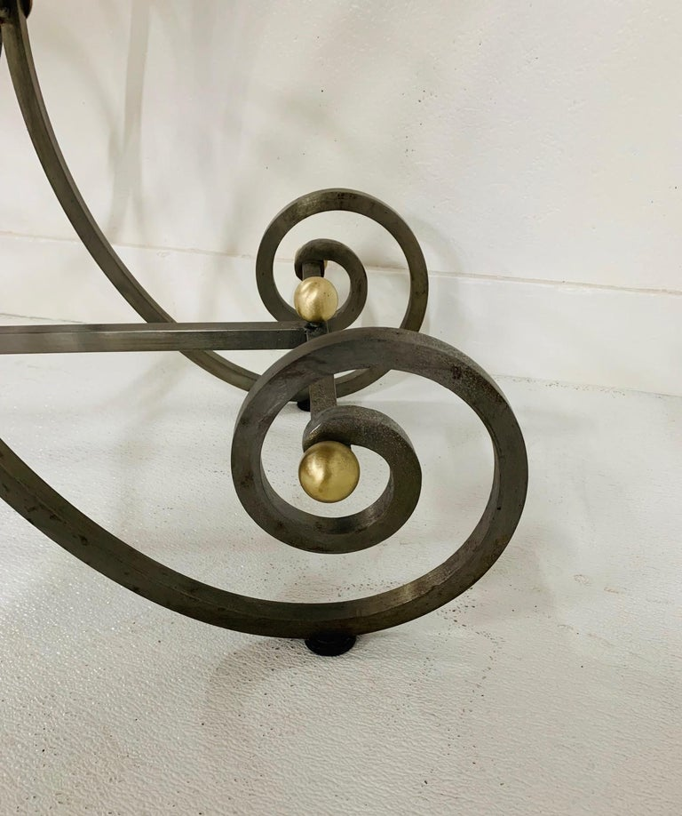 French Iron and Marble-Top Console For Sale 2