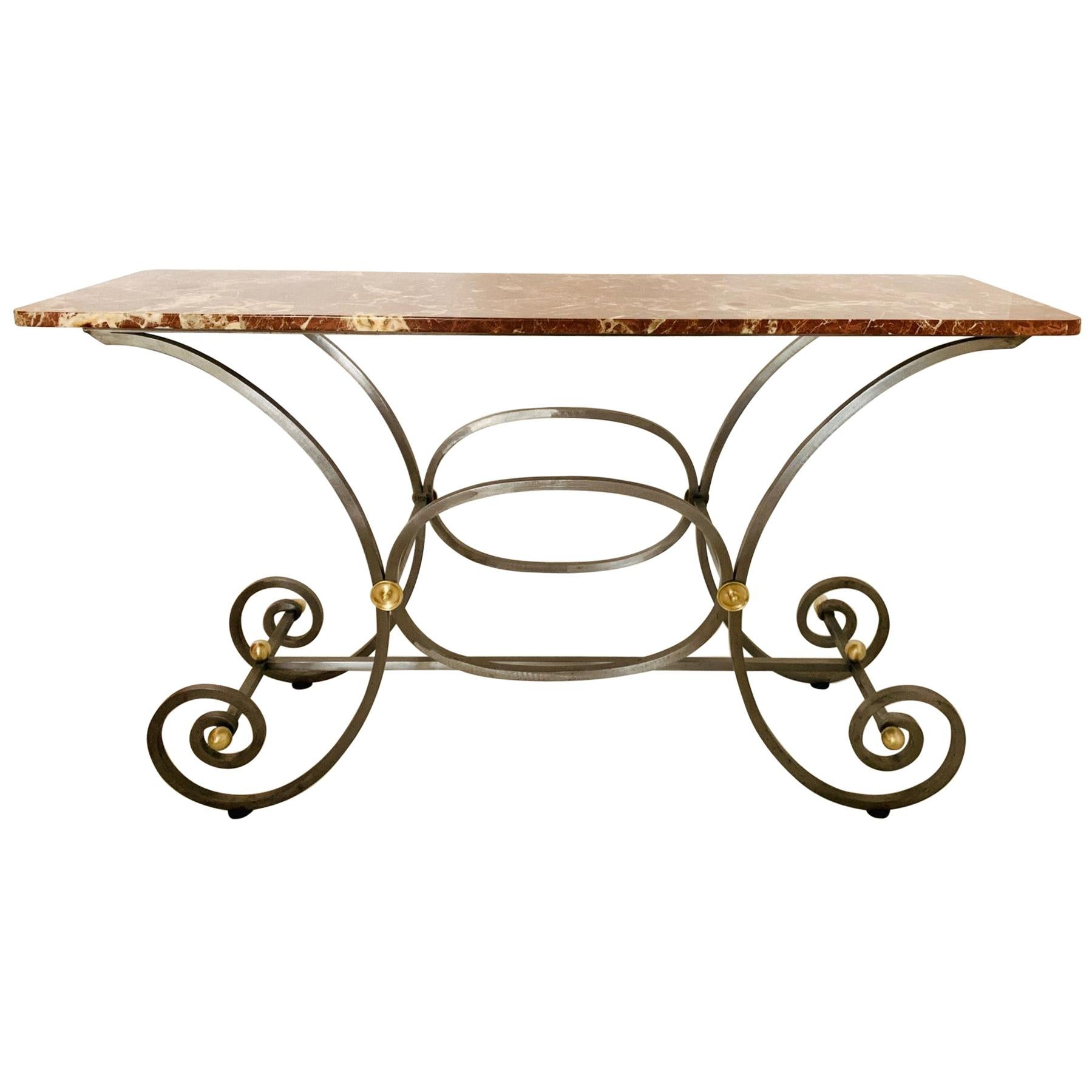 French Iron and Marble-Top Console